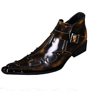 للرجال أحذية الجدة جلد ربيع / خريف قديم / مريح أوكسفورد المشي بني / أحمر / زفاف / الحفلات و المساء