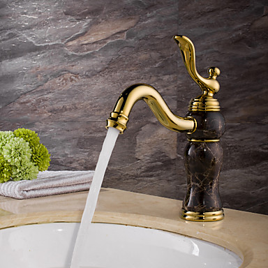 Clássica Conjunto Central Separada Válvula Cerâmica Monocomando e Uma Abertura Ti-PVD, Torneira pia do banheiro
