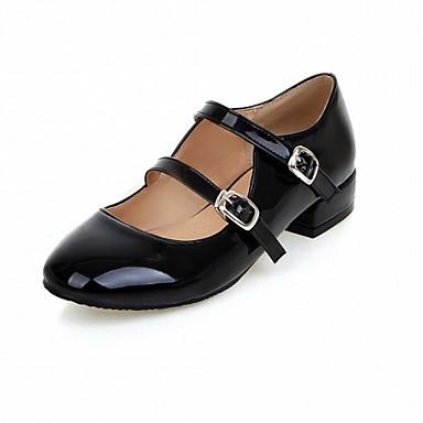 Mulheres Sapatos Courino / Couro Ecológico Primavera / Verão Conforto / Inovador Rasos Caminhada Sem Salto Ponta Redonda Presilha Preto /
