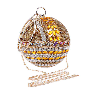 Women's Bags Polyester Evening Bag Rhinestone Crystal for Wedding Event / Party Formal All Seasons Gold