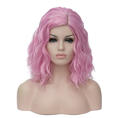 Perucas sintéticas Mulheres Ondulado Corte Bob Cabelo Sintético Parte lateral Peruca Curto Sem Touca Rosa