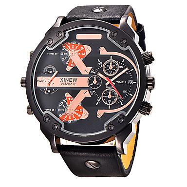 Men's Sport Watch Military Watch Wrist Watch Quartz Genuine Leather Black / Blue / Brown Water Resistant / Waterproof Calendar / date / day Creative Analog ...