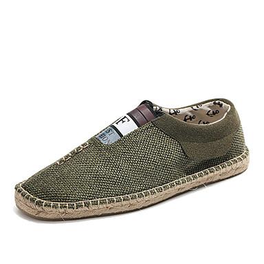 Homens sapatos Linho Algodão Verão Outono Solados com Luzes Alpargata Mocassim Mocassins e Slip-Ons Pregueado Elástico Combinação para