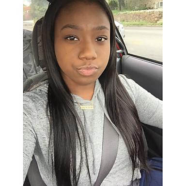 Gerçek Saç Tutkalsız Dantel Ön Ön Dantel Peruk stil Düz Brezilya Saçı Düz Doğa siyah Peruk % 120 Saç yoğunluğu Bebek Saçlı Doğal saç çizgisi Afrp Amerikan Peruk % 100 Elle Bağlanmış Doğa siyah Kadın's