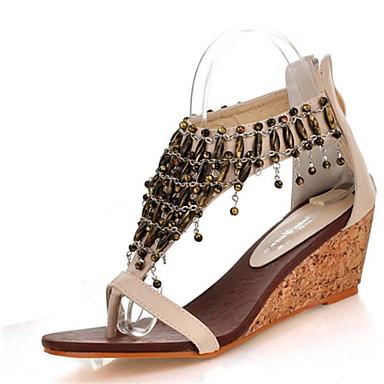 povoljno Ženske cipele-Žene Sandale Sandale platforme Wedge Heel Otvoreno toe Patent-zatvarač / Lanac / S resicama Umjetna koža Klub obuća Ljeto Crn / Badem / Poluga pete