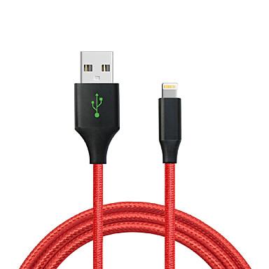 USB 2.0 / Belysning Flettet Kabel iPad / Apple / iPhone til 120 cm Til Nylon