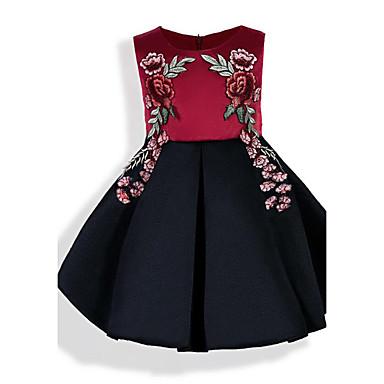 لفتاة فستان سادة ورد مطرز قطن ربيع صيف كل الفصول كم قصير زهري شريطة نبيذ