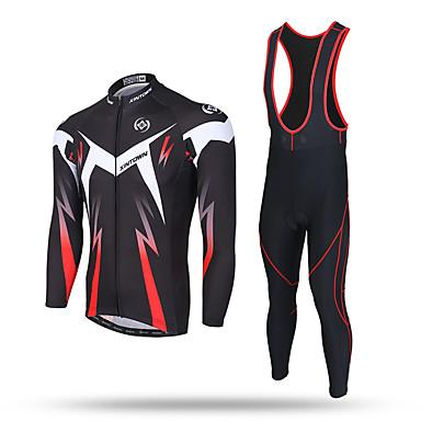 XINTOWN Homens Manga Longa Camisa com Calça Bretelle - Preto Moto Tights Bib Camisa/Roupas Para Esporte Calças Conjuntos de Roupas,