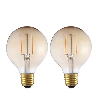 GMY® 2pcs 2W 180lm E26 / E27 Lâmpadas de Filamento de LED G80 2 Contas LED COB Decorativa Âmbar 220-240V
