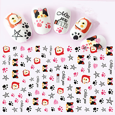 1pcs 3D Nail Stickers Nail Stamping Template Daglig Mote
