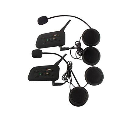 Vnetphone V6 2Pcs 1200M Waterproof Motorcycle Helmet Interphone Full Duplex Bluetooth Car Kit Intercom Headset