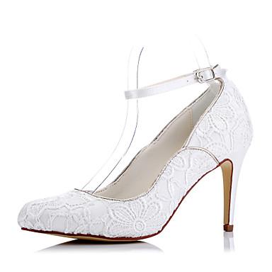 Mulheres Sapatos Tule Primavera / Verão Conforto Saltos Salto Agulha Dedo Fechado Ivory / Casamento / Festas & Noite / Social