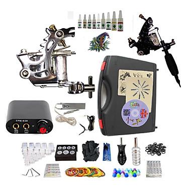 Starter Tatoveringssett 2 x stål tatoveringsmaskin til lining og skyggelegging Tattoo Machine Mini strømforsyning 10× 5ml Tattoo blekk 2
