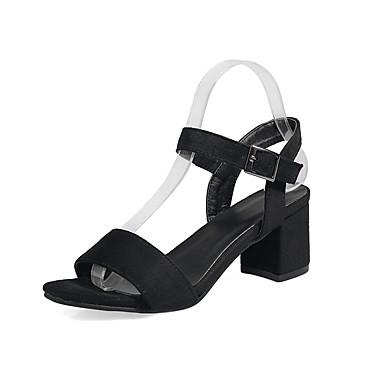 hesapli Kadın Sandaletleri-Sandaletler Topuk Sandaletini Engelleyin Kalın Topuk Açık Uçlu Yapay Deri Bahar / Yaz Siyah / Yeşil / EU40