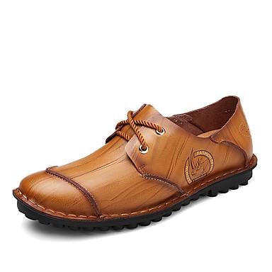 Homens sapatos Couro Primavera / Outono Conforto Tênis Caminhada Preto / Amarelo / Vermelho