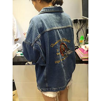 e4462c40019c 2017 άνοιξη κέντημα κεντημένα τζιν μπουφάν γυναικεία κορεατική έκδοση του  εμπρός και πίσω