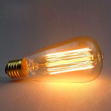 1pç 60W E26/E27 ST64 2300 K Incandescente Vintage Edison Light Bulb AC 220V AC 220-240V V