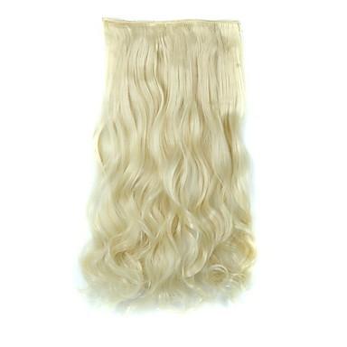 قطعة شعر مجعد مموج كلاسيكي شعر مستعار صناعي إطالة الشعر Clip In يوميا