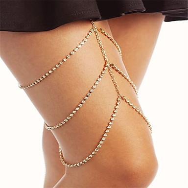 levne Dámské šperky-Kubický zirkon / drobný diamant Stohovatelné Řetízek na nohu dámy, Módní Dámské Zlatá / Stříbrná Tělové ozdoby Pro Párty / Zvláštní příležitosti / Štras