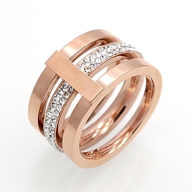 Női Kocka cirkónia Band Ring - Circle Shape Vintage / elegáns / Divat Arany / Ezüst / Vörös arany Gyűrű Kompatibilitás Esküvő / Napi /