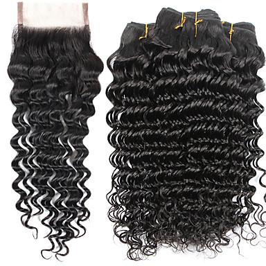 baratos Extensões de Cabelo Natural-4 pacotes Cabelo Indiano Onda Profunda 10A Cabelo Virgem Cabelo Humano Ondulado Tramas de cabelo humano Extensões de cabelo humano