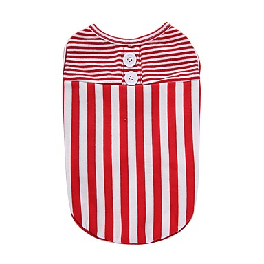 Dog Shirt / T-Shirt Vest Dog Clothes Stripe Black Red Cotton Costume For Pets Men's Women's Party Casual/Daily Holiday Birthday Fashion