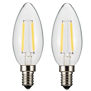 ONDENN 2pcs 2W 150-200 lm E14 E12 مصابيحLED CA35 2 الأضواء COB تخفيت أبيض دافئ أس 220-240V أس 110-130V