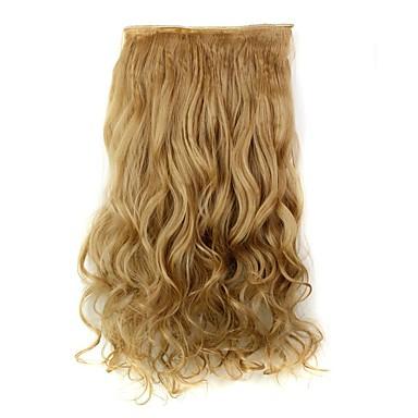 Pedaço de cabelo Encaracolado Ondulado Clássico Cabelo Sintético Alongamento Com Presilha Diário