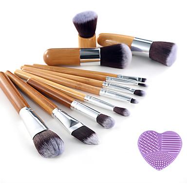 Professionel Make-up pensler Brush Sets 11pcs Bærbar Rejse Professionel Syntetisk Hår / Kunstig Fiber Børste Træ Makeupbørster til