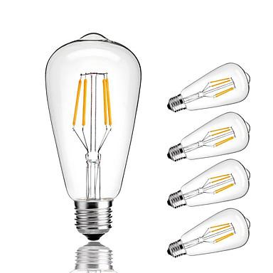 5pçs 4 W 360 lm E26 / E27 Lâmpadas de Filamento de LED ST64 4 Contas LED COB Decorativa Branco Quente Branco Frio 220-240 V / 5 pçs / RoHs