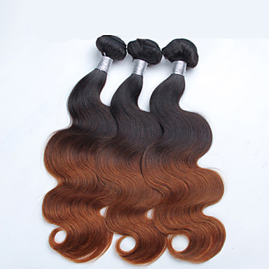 3 PC / ombre κύμα σωμάτων τα μαλλιά χονδρικής περουβιανό μαλλιά, ακατέργαστη των μη επεξεργασμένων ειδών περουβιανή τρίχα της Virgin