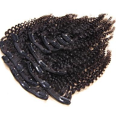 Com Presilha Extensões de cabelo humano Kinky Curly Cabelo Humano Cabelo Brasileiro Mulheres Diário