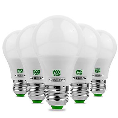 cheap LED Globe Bulbs-YWXLight® 5PCS E27/E26 5730SMD 5Watts 10LED Warm White Cool White LED No Flicker High Brightness LED Bulb 12V 12-24V