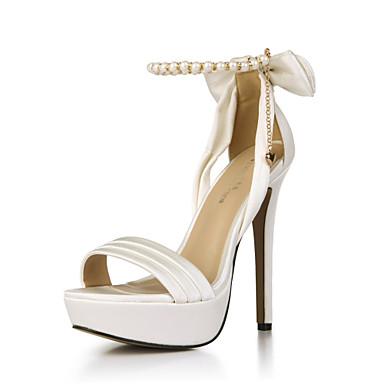 Chaussures Sandales amp; de ouvert Evénement Femme Bout Chaussures Chaîne Soie Bleu 05730975 Rouge club Soirée Eté Mariage Ivoire Noeud AAYaqX