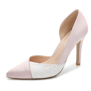 cheap Wedding Shoes-Women's Party Heels Silk Summer / Fall Club Shoes Heels Stiletto Heel Pointed Toe / Closed Toe Split Joint Black / Light Pink / Royal Blue / Wedding / Party & Evening