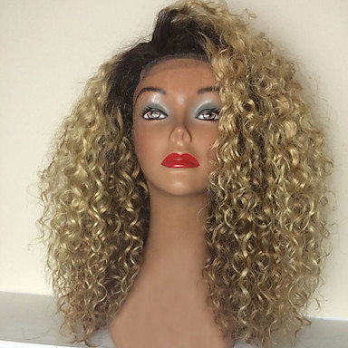 cheap Human Hair Wigs-Human Hair Glueless Full Lace Full Lace Wig style Brazilian Hair Kinky Curly Ombre Wig 150% Density with Baby Hair Ombre Hair Natural Hairline African American Wig 100% Hand Tied Ombre Women's Short