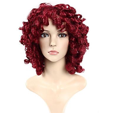 preiswerte Synthetische Perücken mit Spitze-Synthetische Perücken Locken / Lose gewellt Stil Kappenlos Perücke Rot Rot Synthetische Haare Rot Perücke Cosplay Perücke