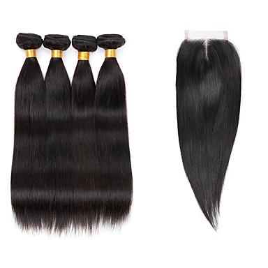 baratos Extensões de Cabelo Natural-4 pacotes com fechamento Cabelo Indiano Liso 10A Cabelo Virgem Cabelo Humano Ondulado 8-26 polegada Tramas de cabelo humano 7a Extensões de cabelo humano / Reto