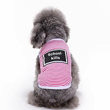 Gato Cachorro Camiseta Colete Roupas para Cães Carta e Número Cinzento Amarelo Rosa claro Algodão Ocasiões Especiais Para animais de