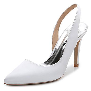 Mulheres Sapatos Seda Verão / Outono Chanel Tamancos e Mules Salto Agulha Dedo Apontado / Dedo Fechado Branco / Rosa Claro / Azul Real