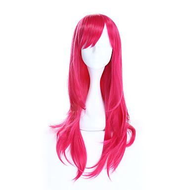 Perucas sintéticas / Perucas de Fantasia Liso Cabelo Sintético Rosa Peruca Mulheres Longo Peruca Natural / Peruca de Halloween / Peruca