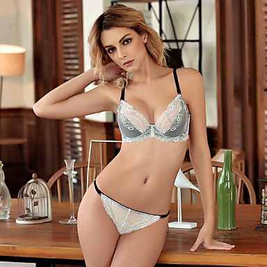 6672863b9 YUIYE®3 4 cup Bras   Panties Sets Double Strap Adjustable Push-up Lace Bras  Underwire Bra Fixed Straps Cotton Lace  05737529