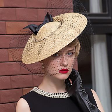 voordelige Hoeden-Vlechtwerk / Net Kentucky Derby Hat / fascinators / hatut met Bloem 1pc Bruiloft / Speciale gelegenheden  / Causaal Helm