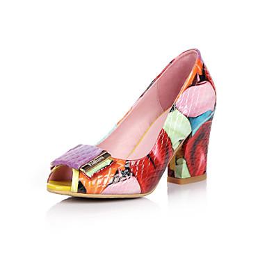 للمرأة أحذية جلد صيف / خريف أحذية النادي كعوب كعب متوسط أحذية أصبع القدم زهور أحمر / فستان