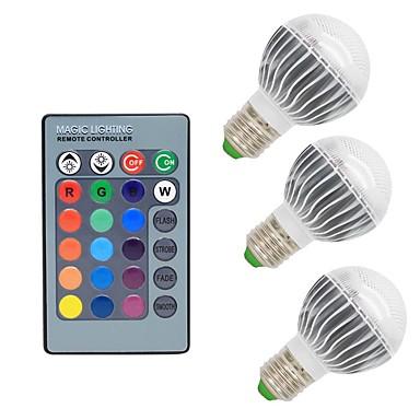 3pçs 3W 300lm E26 / E27 Lâmpada Redonda LED G50 1 Contas LED COB Regulável Decorativa Controle Remoto RGB 85-265V