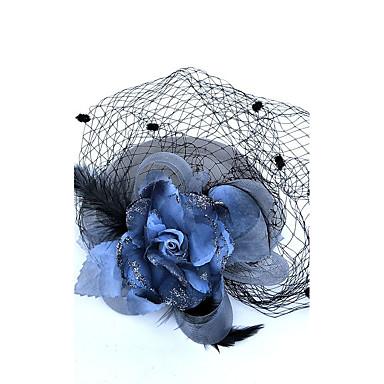 levne Ozdoby do vlasů na večírek-Peří / Síť Fascinátory / Květiny / Klobouky s Květiny 1ks Svatební / Zvláštní příležitosti Přílba