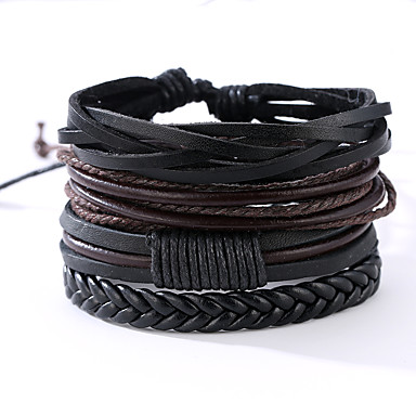 cheap Men's Bracelets-4 PCS Men's Rope Wrap Bracelet Leather Bracelet Leather Vintage Punk Bracelet Jewelry Black For Anniversary Gift Sports Valentine