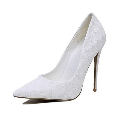 Mulheres Sapatos Courino Primavera / Verão Sapatos clube Saltos Salto Agulha Dedo Apontado Flor Branco / Casamento