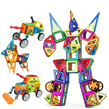 Blocos Magnéticos / Blocos de Construir / Brinquedos de Montar 96pcs Carro / Robô Magnética Para Meninas Dom