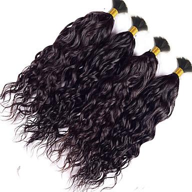 voordelige Weaves van echt haar-4 bundels Indiaas haar Golvend 8A Bundle Hair Menselijk haar weeft Extensions van echt haar